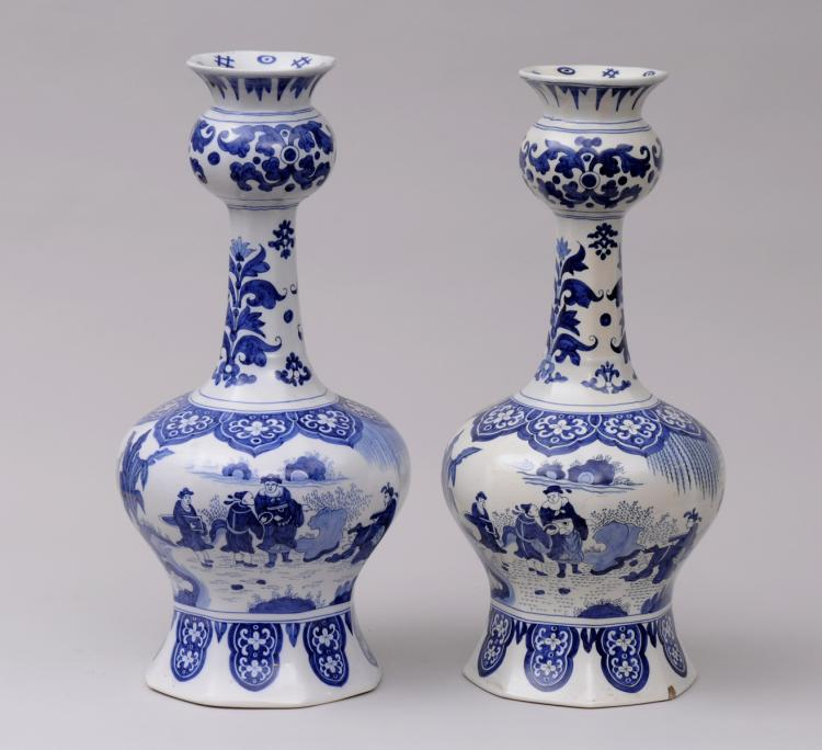 Pair Dutch Delft Bottle Vases