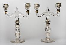 Pair French Glass Candelabra
