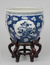 Chinese Export Jardiniere or Fish Bowl on Stand