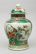 Chinese Famille Vert Covered Vase