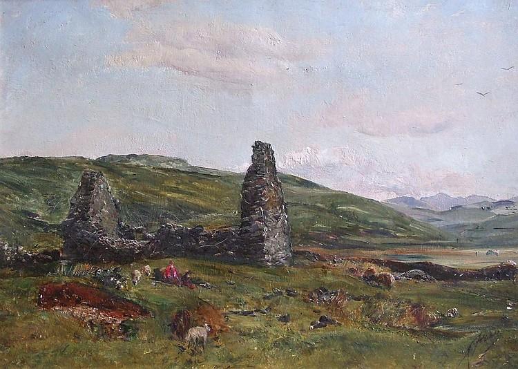 Alec Fraser (act 1893-1912) - LANDSCAPE WITH RUINED COTTAGE