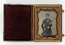 (CASED IMAGES) Lightly hand-colored half-plate daguerreotype of a young gentleman-hunter
