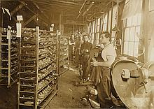 (GLOBE SHOE COMPANY) Album with 45 photographs depicting activities at a footwear manufacturing firm.