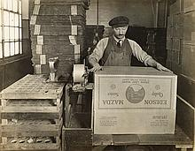 (INDUSTRIAL) Edison Mazda Company album containing 85 photographs relating to the manufacture of lightbulbs,