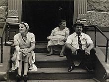 LEVITT, HELEN (1913-2009) Three figures on a stoop, New York City.