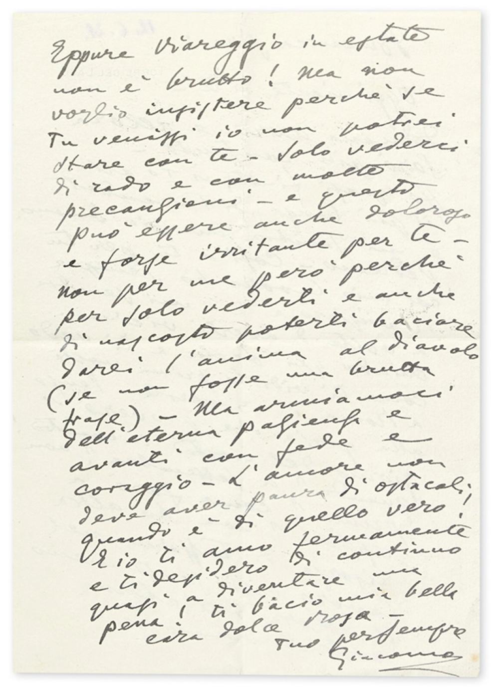 puccini giacomo autograph letter signed giacomo to ros