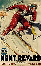 PAUL ORDNER (1900-1969). MONT. REVARD / TÉLÉPHÉRIQUE. Circa 1935. 39x24 inches, 99x61 cm. M. Déchaux, Paris.