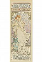 ALPHONSE MUCHA (1860-1939). LA DAME AUX CAMELIAS. Maîtres de l''Affiche pl. 144. 1898. 15x11 inches, 39x26 cm. Chaix, Paris.