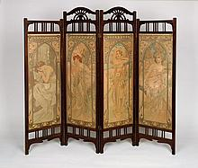 ALPHONSE MUCHA (1860-1939). [TIMES OF THE DAY.] Four decorative panels in folding screen. 1899. Each panel 40x14 inches, 101x36 cm. [F.