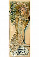 ALPHONSE MUCHA (1860-1939). SARAH BERNHARDT / AMERICAN TOUR. 1896. 78x29 inches, 200x73 cm. The Strobridge Lith, Co, Cincinnati.