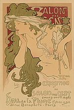 ALPHONSE MUCHA (1860-1939). SALON DES CENT. Maîtres de l''Affiche pl. 94. 1897. 14x10 inches, 35x26 cm. Chaix, Paris.