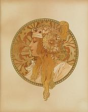 ALPHONSE MUCHA (1860-1939). [TÊTES BYZANTINE.] Two decorative panels. Circa 1897. Each approximately 18x14 inches, 46x37 cm. [F. Champe