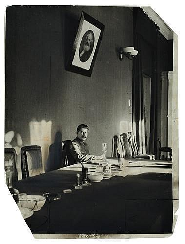 ABBE, JAMES (1883-1973) Karl Marx watching over Joseph Stalin.