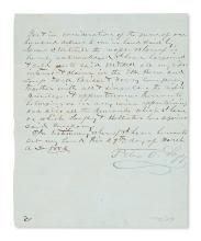 (NEBRASKA.) Sarpy, Peter A. Deed of ferry rights signed by a notable pioneer.