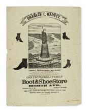 (NEW YORK CITY.) Harvey, Charles E. Shoe advertisement featuring the proposed Statue of Liberty.