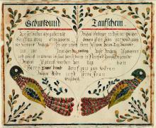 (PENNSYLVANIA.) Fraktur manuscript birth certificate.