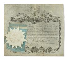 (PENNSYLVANIA.) Membership certificate of the Society of the Sons of St. George.