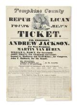 (PRESIDENTS--1832 CAMPAIGN.) Tompkins County Republican Young Men''s Ticket. For President, Andrew Jackson.