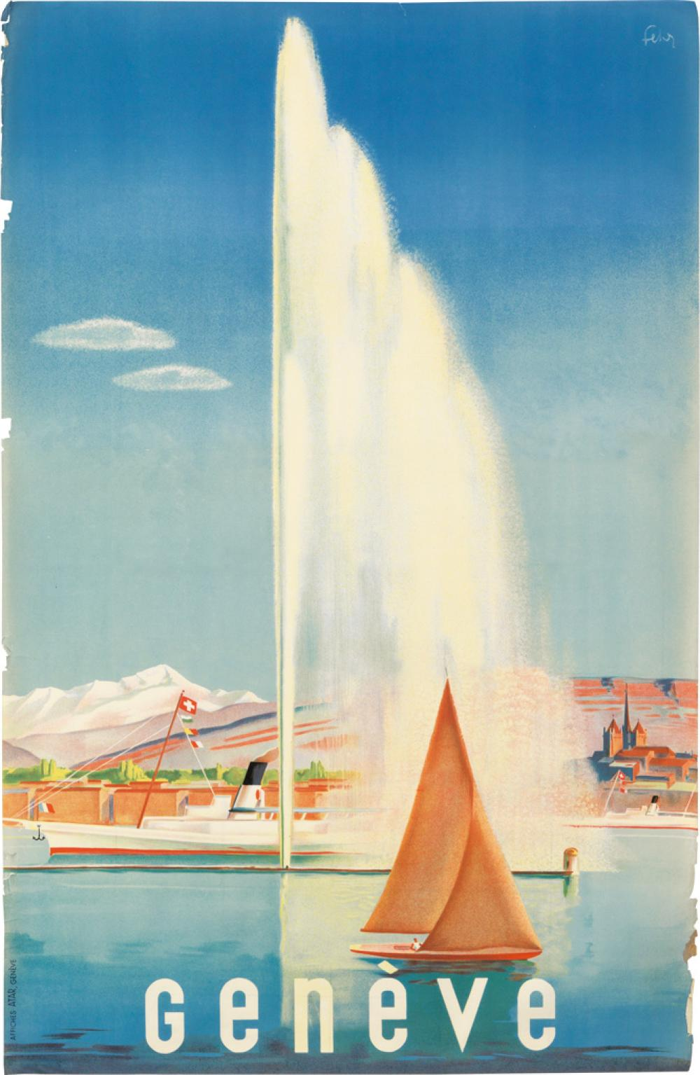 HENRY FEHR (DATES UNKNOWN). GENÈVE. 1935. 39x25 inches, 99x64 cm. Affiches Atar, Geneva.