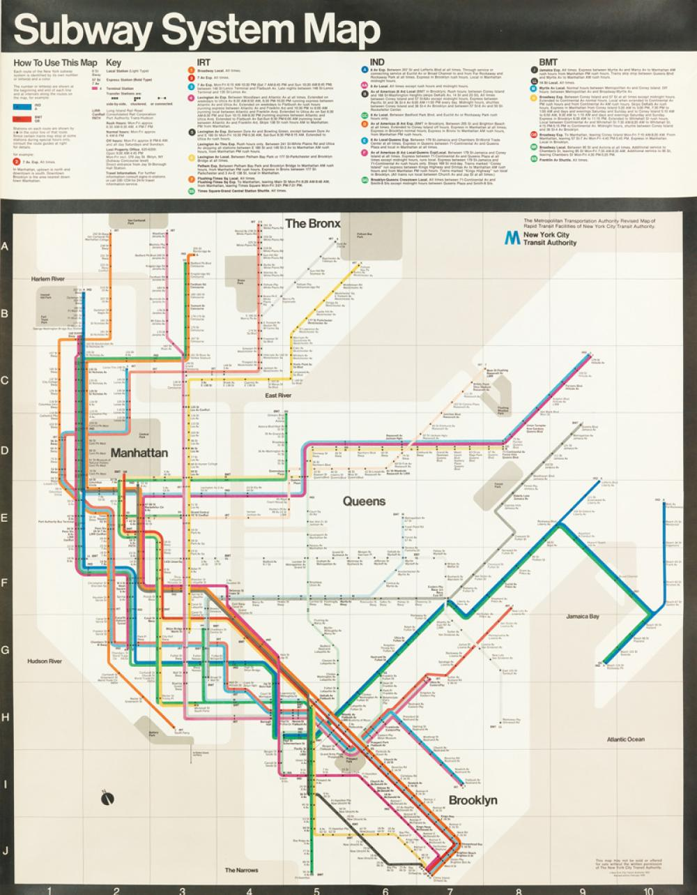Massimo Vignelli Subway Map 1978.Massimo Vignelli 1931 2014 Subway System Map 1978 58x45