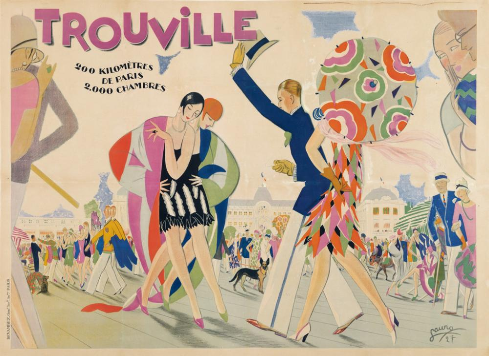 MAURICE LAURO (1878-?). TROUVILLE. 1927. 45x61 inches, 115x156 cm. Devambez, Paris.