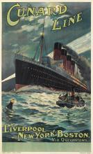 ODIN ROSENVINGE (1880-1957). CUNARD LINE / LIVERPOOL • NEW YORK • BOSTON / [LUSITANIA.] Circa 1907. 39x24 inches, 100x62 cm. Turner & D