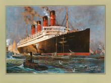 ODIN ROSENVINGE (1880-1957). CUNARD LINE / [AQUITANIA.] 30x40 inches, 77x101 cm. Turner & Dunnett, Liverpool.