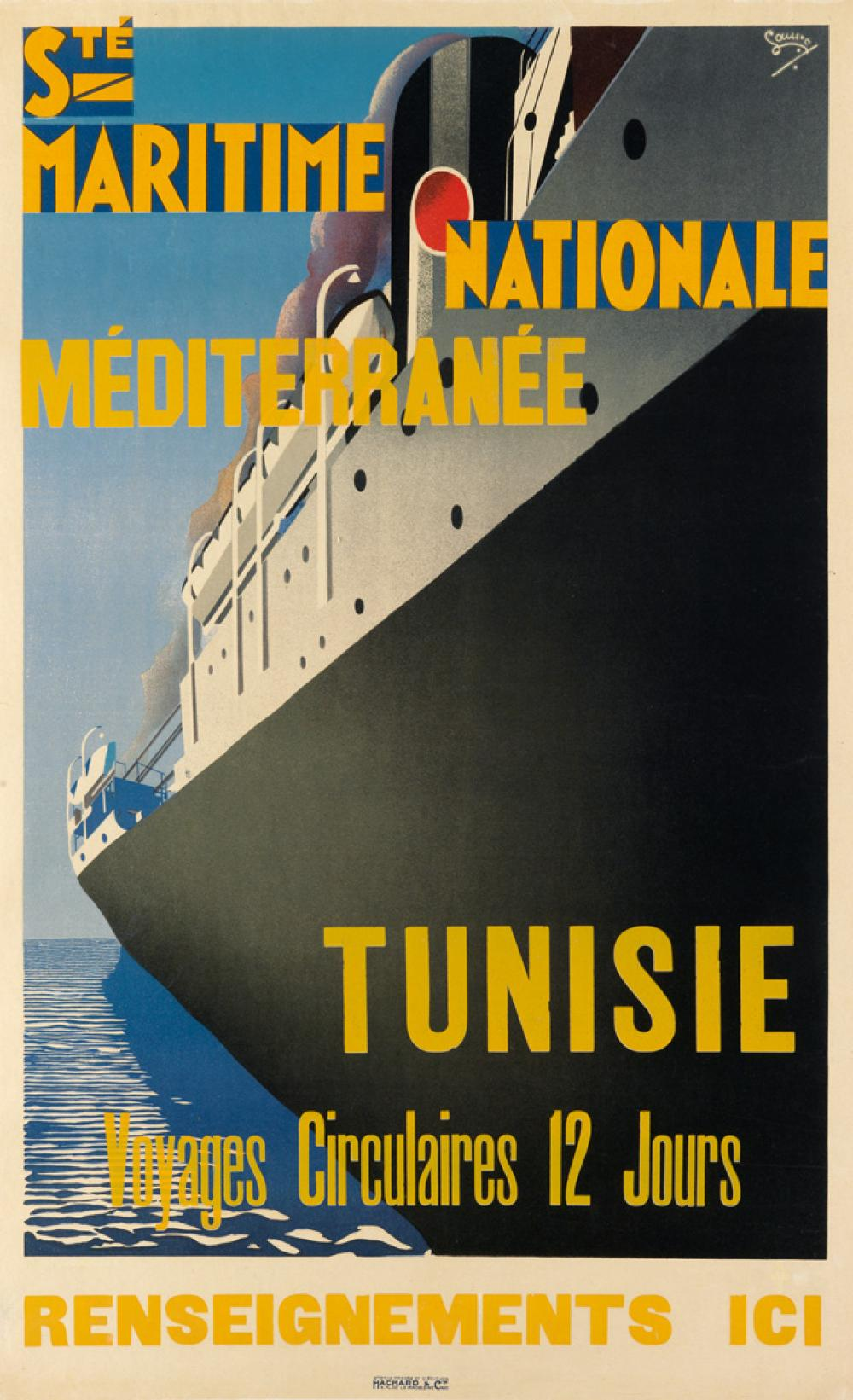 MAURICE LAURO (1878-?). STÉ MARITIME NATIONALE MÉDITERRANÉE / TUNISIE. Circa 1930. 39x24 inches, 99x61 cm. Hachard & Cie, Paris.