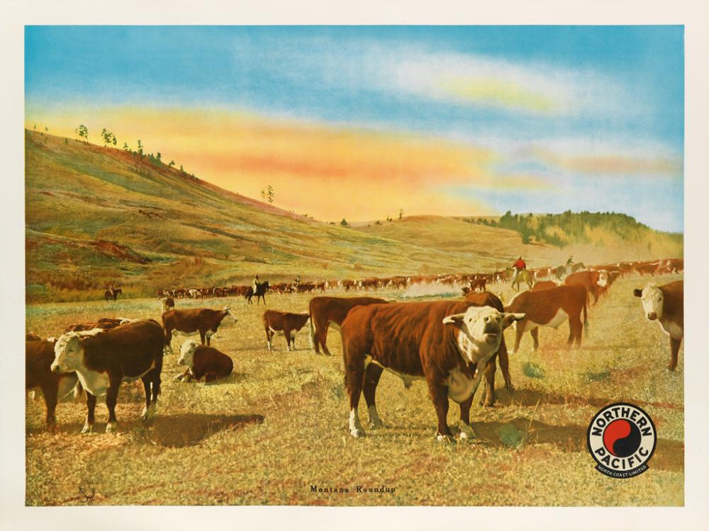 JESSAMINE SPEAR JOHNSON (1886-1978). MONTANA ROUNDUP / NORTHERN PACIFIC. 1929. 29x38 inches, 90x97 cm.