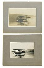 (AVIATION.) Pair of photographs of Glenn H. Curtiss on an early test flight of his Flying Boat.