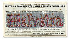 (CALIFORNIA.) Sutton & Co. Advertising card for the clipper ship Helvetia bound for San Francisco.