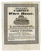(CABINETMAKING.) Richardson, C. Broadside of the Holley Cabinet Ware House, with related notebook of furniture designs.