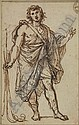 AGOSTINO MASUCCI (Rome 1691-1758 Rome) Standing Classical Figure. Pen and brown ink and pencil on cream laid paper. 140x115 mm; 51/2x41/2 inches., Agostino Masucci, Click for value