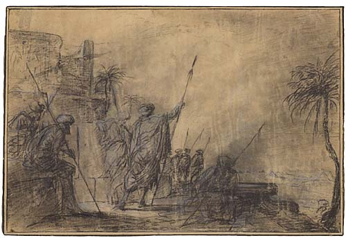 HIPPOLYTE (PAUL) DELAROCHE (Paris 1797-1856 Paris) Soldiers Defending an Egyptian Fort. Black chalk with white heightening on cream laid paper mounted on laid paper. 245x365 mm; 9x14 inches.