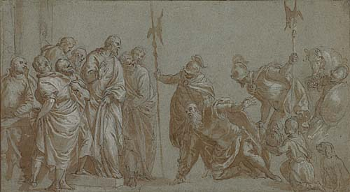 BENEDETTO CALIARI (Verona 1538-1598 Venice) Christ and the Centurion. Pen and brown ink and wash with white heightening over black chalk on blue laid paper. 153x277 mm; 6x10 inches. With a study of a head in black chalk, verso.