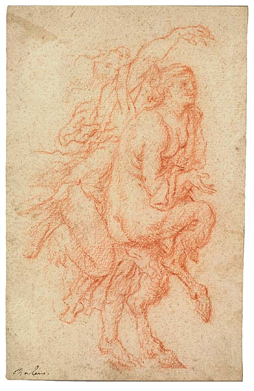GIUSEPPE DIAMANTINI (Fossombrone 1621-1705 Fossombrone) A Bacchant and a Satyr Dancing. Red chalk on cream laid paper mounted on card stock. 166x106 mm; 61/2x4 inches. With an attribution to Rubens in ink, lower left recto.