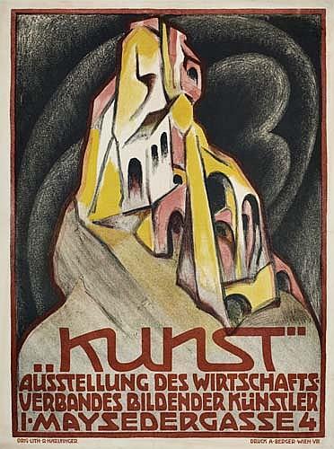 RICHARD HARLFINGER (1873-1948). KUNST. 24x18 inches, 63x46 cm. Druck A. Berger, Vienna.
