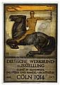 PETER BEHRENS (1868-1940). DEUTSCHE WERKBUND-AUSSTELLUNG. 1914. 35x24 inches, 91x63 cm. A. Molling & Comp., Hanover., Peter Behrens, Click for value