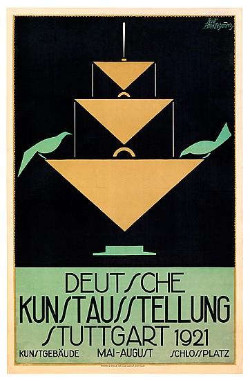 RUDOLF BRACKENHAMMER (1876-?). DEUTSCHE KUNSTAUSSTELLUNG STUTTGART. 1921. 35x23 inches, 90x58 cm. Eckstein & Stähle Hof-Kunstanstalt, S
