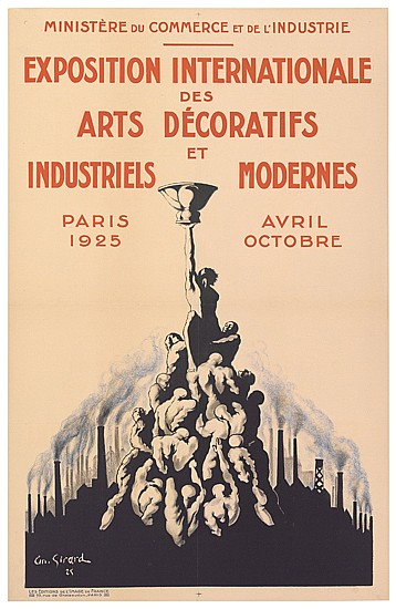 ANDRE GIRARD (1901-1968). EXPOSITION INTERNATIONALE DES ARTS DÉCORATIFS ET INDUSTRIELS MODERNES. 1925. 38x24 inches, 97x62 cm. Les Edit