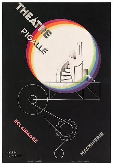 JEAN CARLU (1900-1997). THÉÂTRE PIGALE. 1929. 60x41 inches, 152x105 cm. H. Chachoin, Paris.