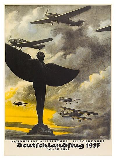 OTTO SANDER-HERWEG (1880-?). DEUTSCHLANDFLUG. 1937. 23x16 inches, 60x42 cm.