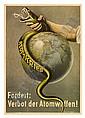 JOHN HEARTFIELD (1891-1968). FORDERT: VERBOT DER ATOMWAFFEN! 1955. 23x16, 58x40 cm. Herausgegeben vom Deutschen Friedenstrat, Berlin., John Heartfield, Click for value