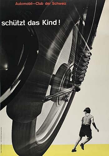 JOSEF MÜLLER-BROCKMANN (1914-1996). SCHÜTZT DAS KIND! 1953. 50x35 inches, 127x88 cm. Lithographie & Cartonnage, Zurich.
