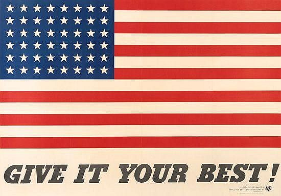 CHARLES COINER (1898-1989). GIVE IT YOUR BEST! 1942. 28x40 inches, 71x101 cm. Government Printing Office.