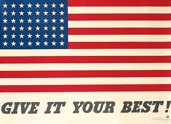 CHARLES COINER (1898-1989). GIVE IT YOUR BEST! 1942. 41x57 inches, 104x145 cm. U.S. Government Printing Office, Washington D.C.