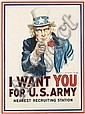 JAMES MONTGOMERY FLAGG (1870-1960). I WANT YOU FOR U.S. ARMY. 1917. 40x30 inches, 102x76 cm. Leslie-Judge Co., New York., James Montgomery Flagg, Click for value