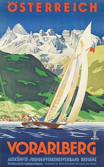 HEINRICH BERANN (1915-1999). ÖSTERREICH / VORARLBERG. 38x24 inches, 98x62 cm. Berann, Innsbruck.