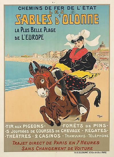 WALTER THOR (1870-1929). LES SABLES D'OLONNE / CHEMINS DE FER DE L'ÉTAT. Circa 1898. 42x31 inches, 107x79 cm. G. Elleaume, Paris.