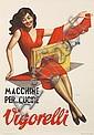 GINO BOCCASILE (1901-1952). MACCHINE PER CUCIRE / VIGORELLI. 1953. 39x27 inches, 100x69 cm. Studio Manino., Luigi Boccasile, Click for value